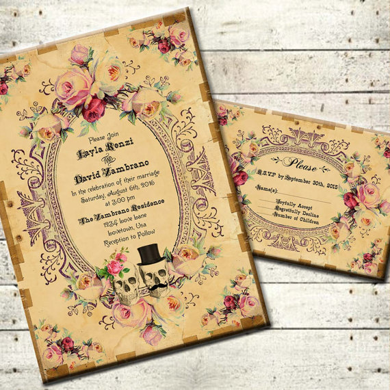 Vintage Victorian Halloween Wedding Invitation