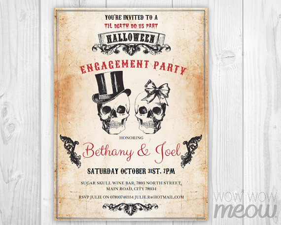 Skulls Halloween Engagement Party Invitation
