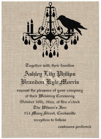 Raven and Damask on Burlap Wedding Invitation