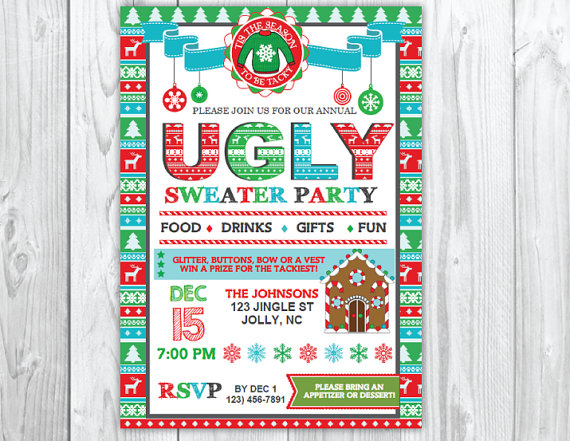Ugly Christmas Sweater Party Invitations | Glitter 'N Spice