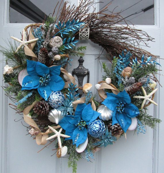 coastal christmas wreath - Beach Christmas Decorations