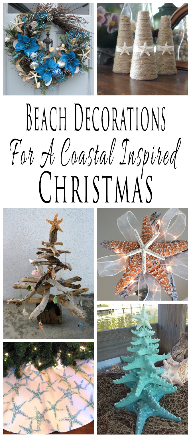 Handmade beach themed Christmas decorations and decor for a coastal inspired Christmas.