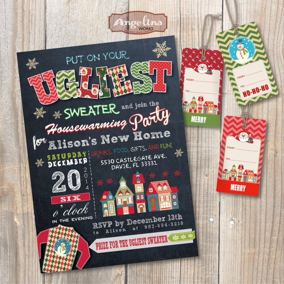 Housewarming Ugly Sweater Party Invitation