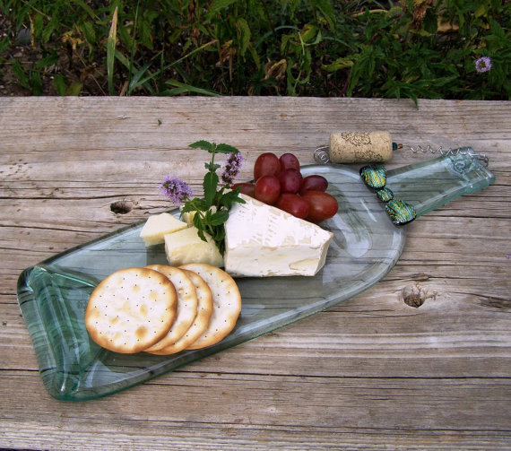 Melted Wine Bottle Cheese Platter