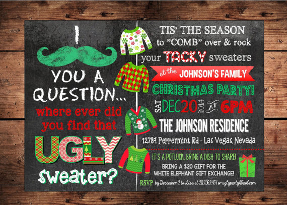 Ugly Christmas Sweater Party Invitations Glitter N Spice - Party invitation template: white elephant christmas party invitations templates