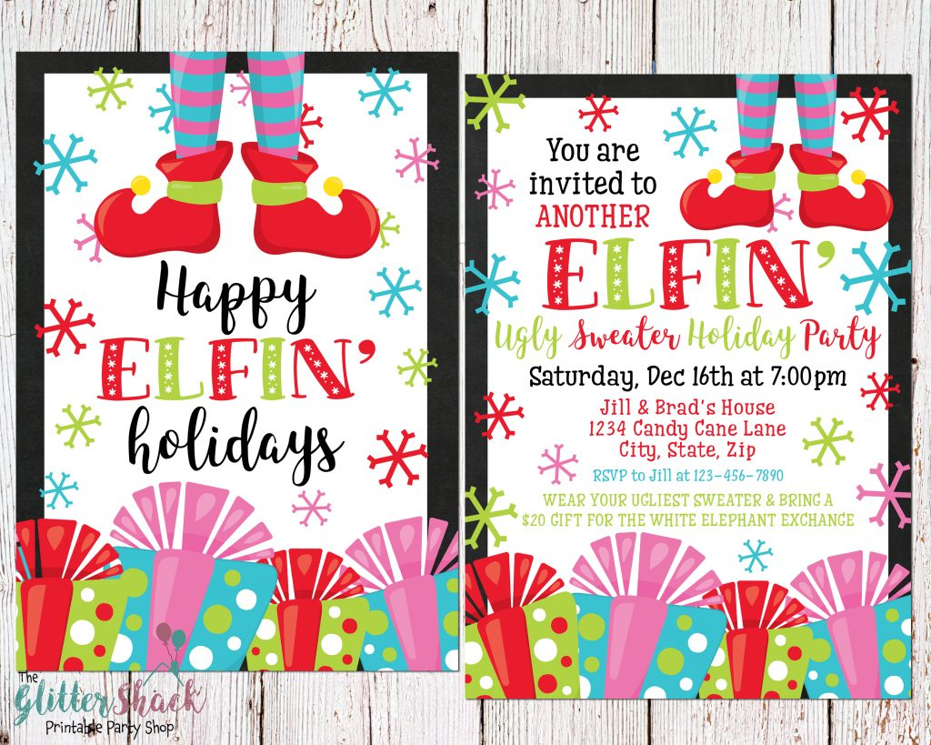 Printable Ugly Sweater Invitation - Happy Elfin' Holidays