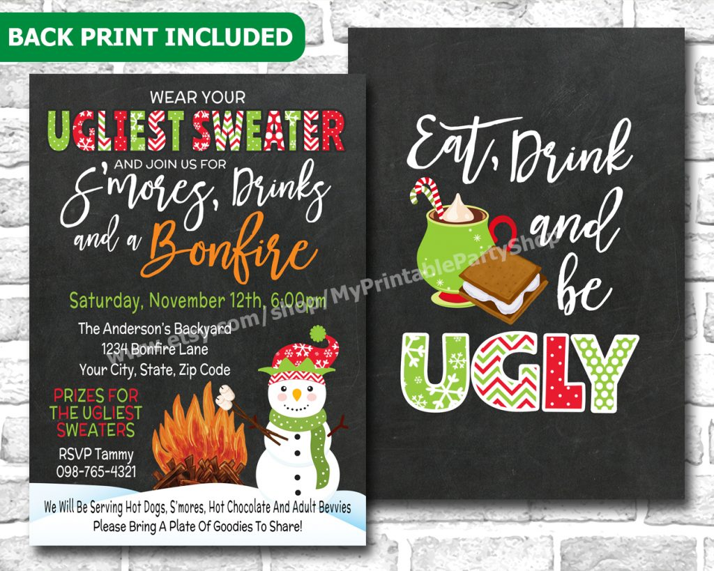 Printable Ugly Sweater Christmas Party Invitation For An Outdoor Bonfire And Smores Holiday Party