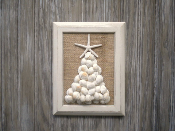 Handmade beach themed christmas decorations for a coastal for Miniature tree decorated with sea shells