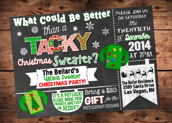 Tacky Sweater Christmas Party Invite