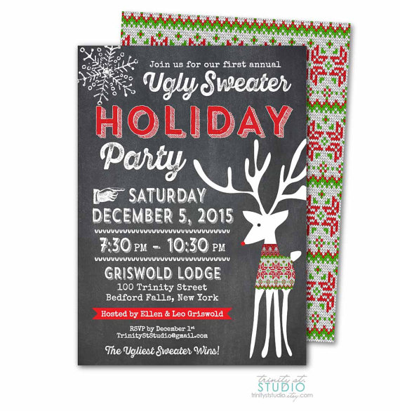 Ugly christmas sweater party invites