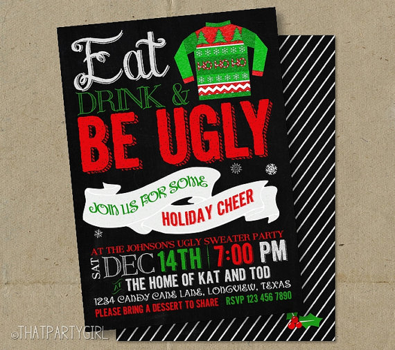 Ugly Sweater Christmas Party Chalkboard Invitations