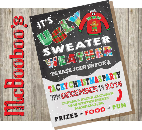 Ugly Tacky Christmas Sweater Party Invitations