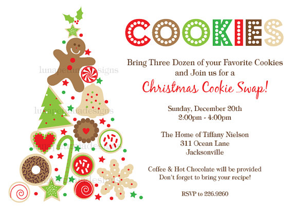 Christmas Cookie Party Invite.15 Christmas Cookie Exchange Party Invitations Glitter N