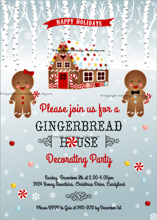 Printable Gingerbread House Decorating Party Invitation