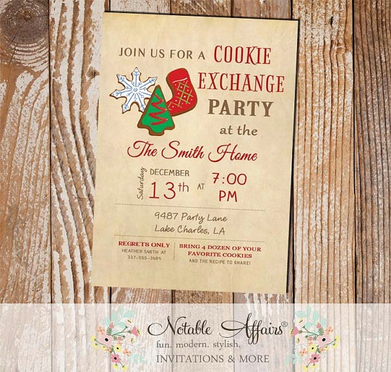 Vintage Christmas Cookie Exchange Party Invitation