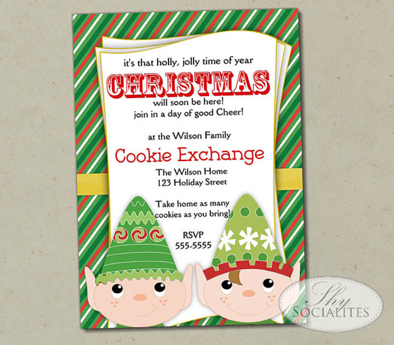 Santa's Elves Christmas Cookie Exchange Invite
