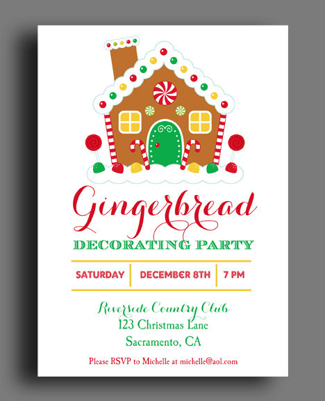20 gingerbread house decorating party invitations Gingerbread house decorating party invitations