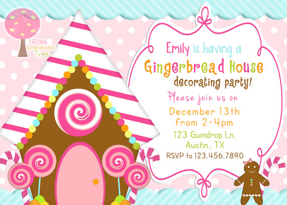 20 gingerbread house decorating party invitations glitter n spice cute gingerbread house decorating party invitation filmwisefo Images