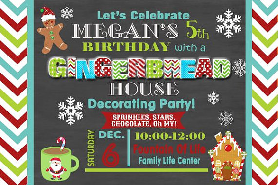 Birthday Gingerbread House Decorating Party Invitation