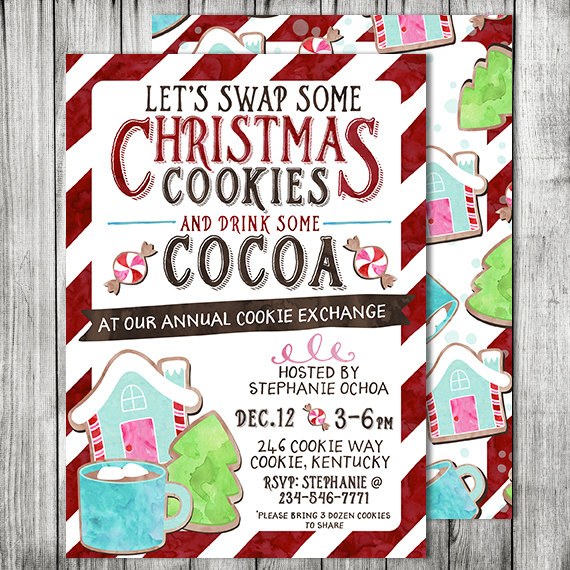 Cookies And Cocoa Cookie Exchange Invites