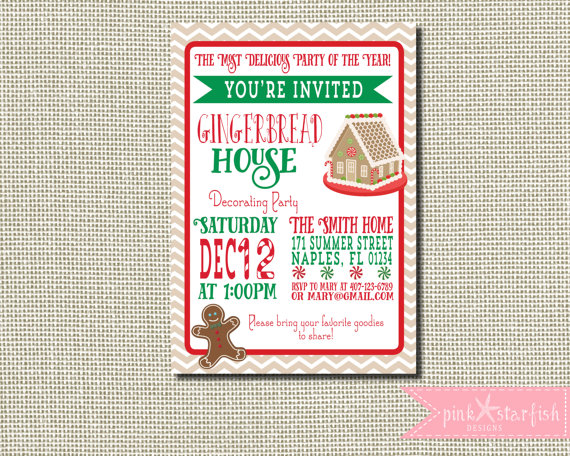 Gingerbread House Party Invitation