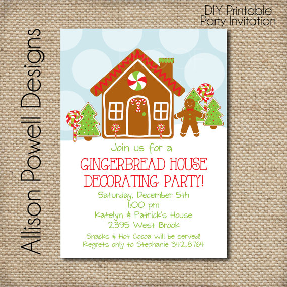 20 Gingerbread House Decorating Party Invitations Glitter