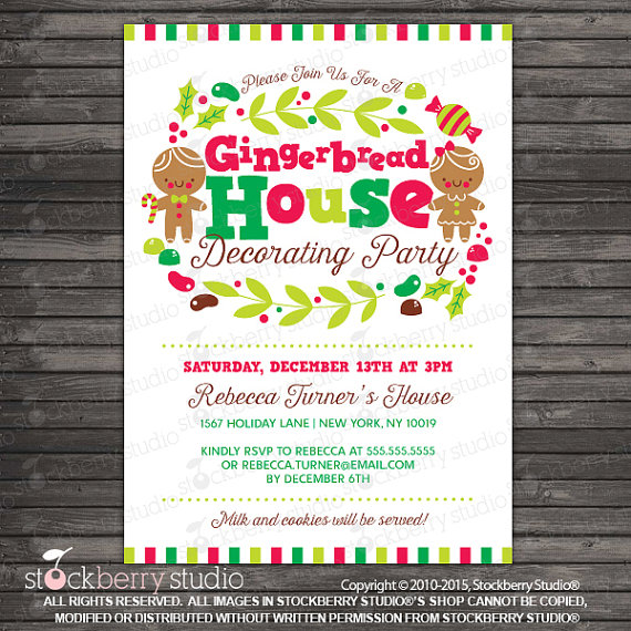Printable Gingerbread House Party Invitation
