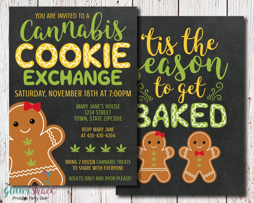 Cannabis Cookie Exchange Party Invitation
