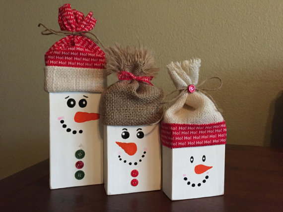 Wooden Snowman Blocks