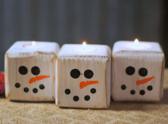Wooden Snowman Candle Holders
