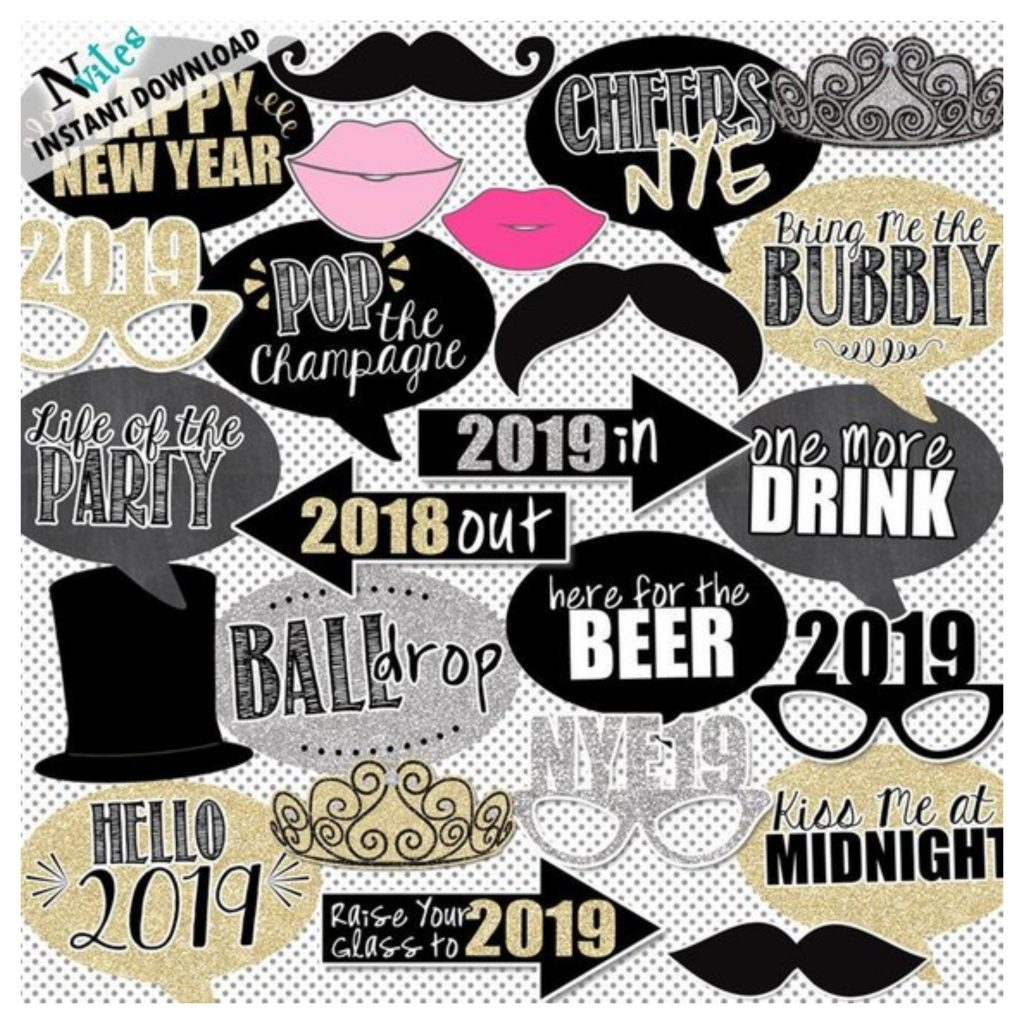 Ring in the new year with 2019 New Years Eve photo booth props.