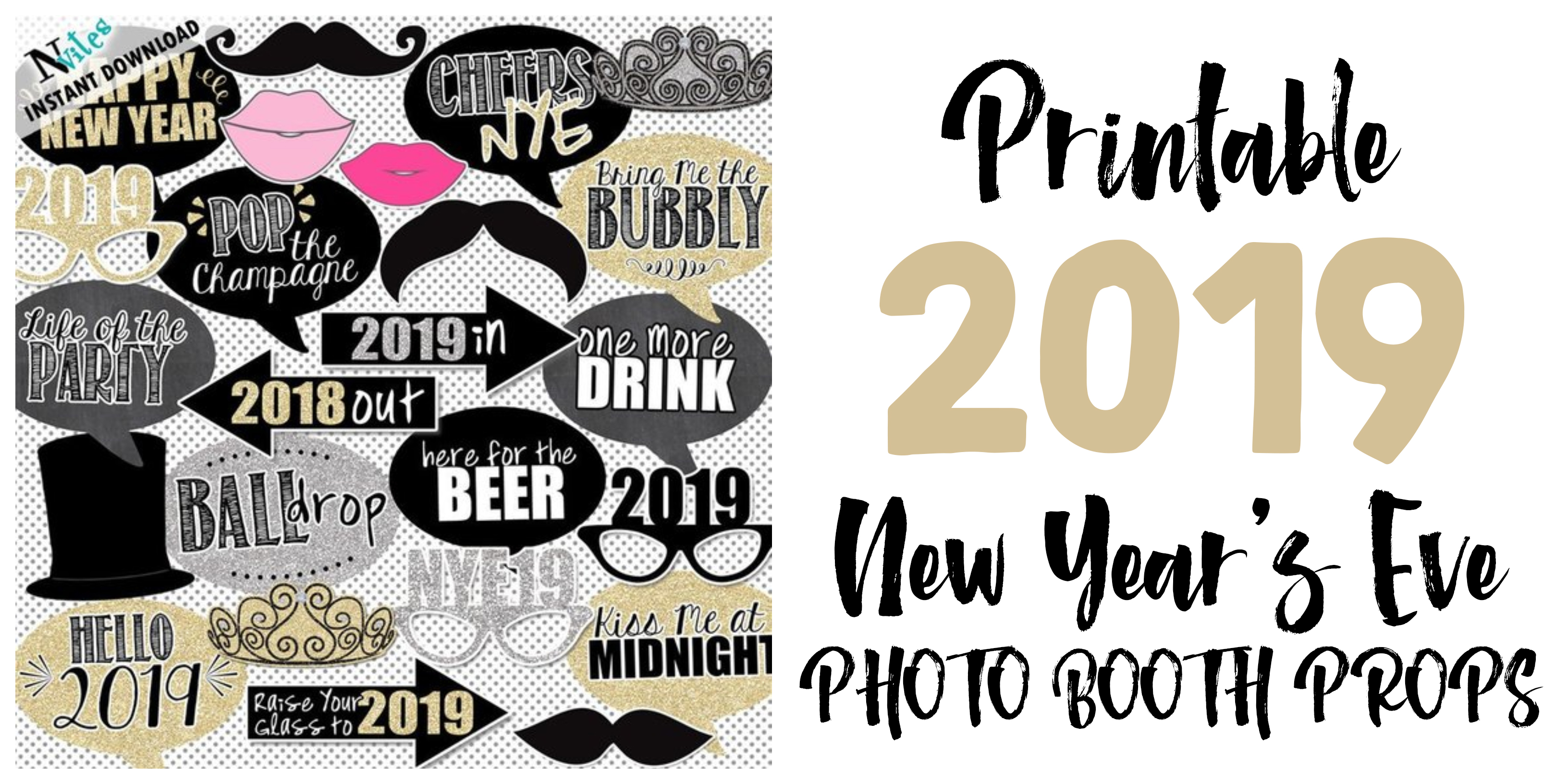 2019 New Years Eve Photo Booth Props Glitter N Spice
