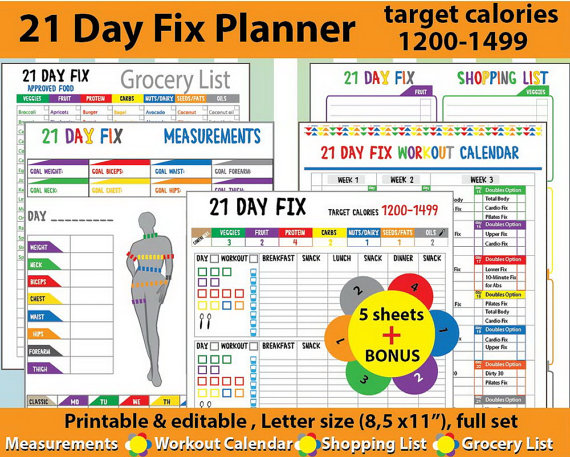 image about 21 Day Fix Workout Schedule Printable known as Printable Exercise And Health and fitness Planners And Printable Planner