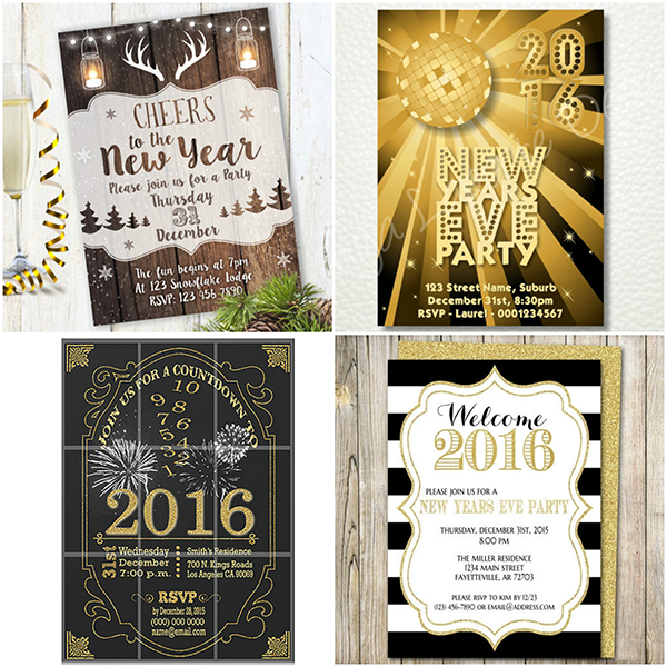 2019 new years eve party invitations glitter n spice