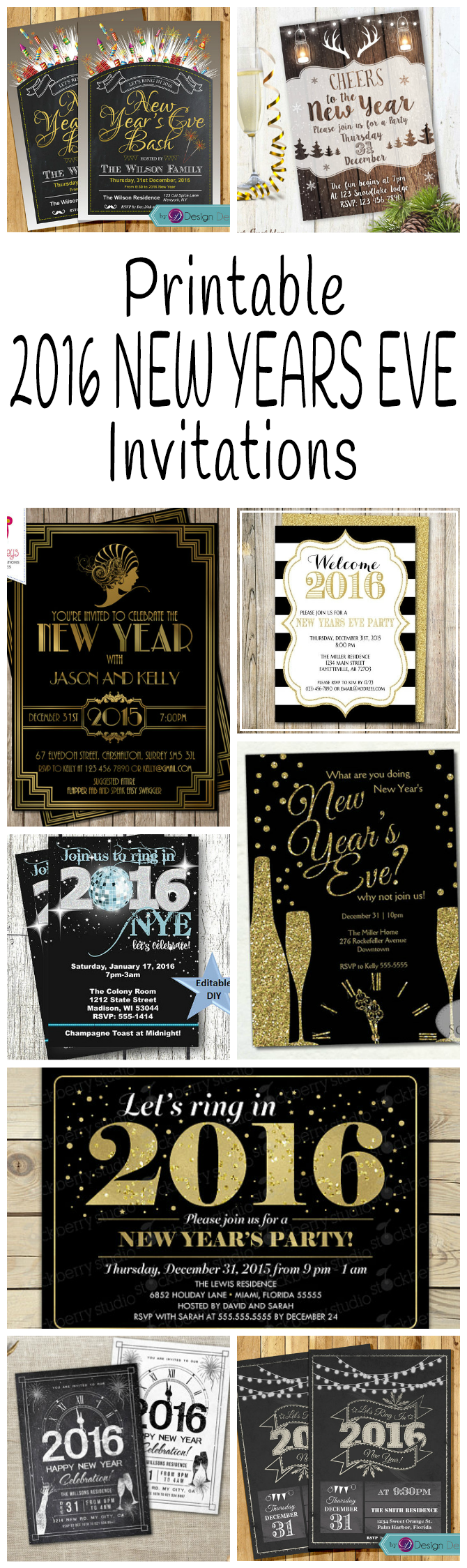 2016 New Years Eve Party Invitations | Glitter \'N Spice