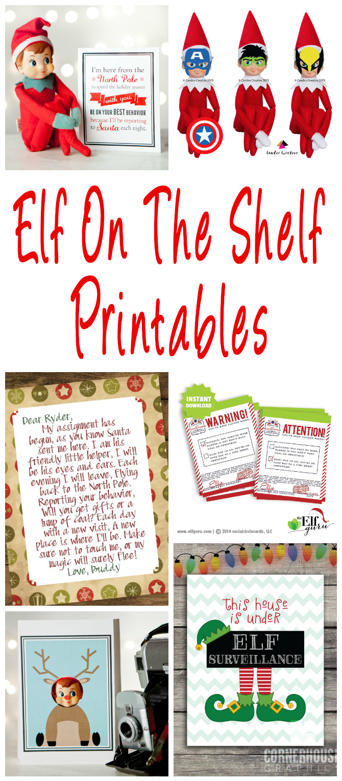 Elf On The Shelf printables. Planners, welcome and goodbye letters, report cards, activity cards, photo booth props and accessories.