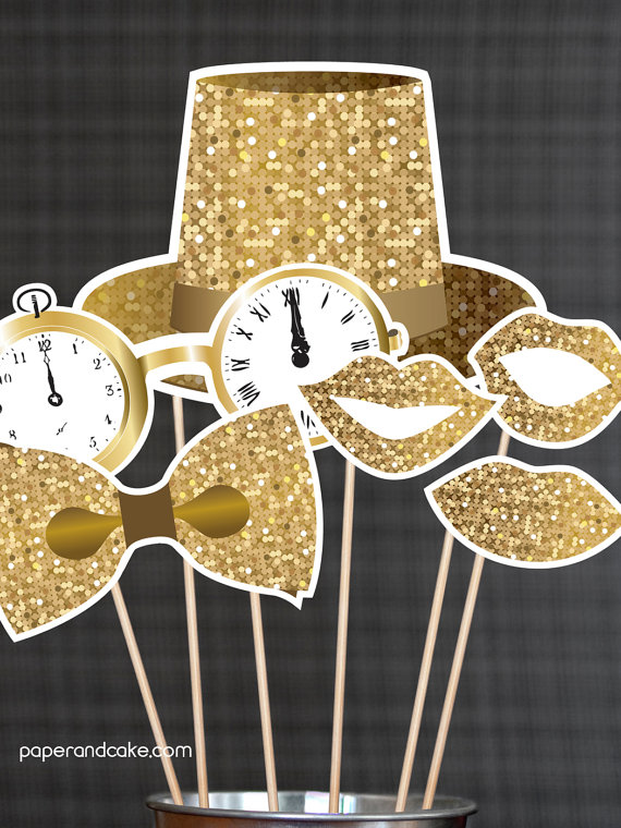 2016 New Years Eve Printable Photo Props available via paperandcake