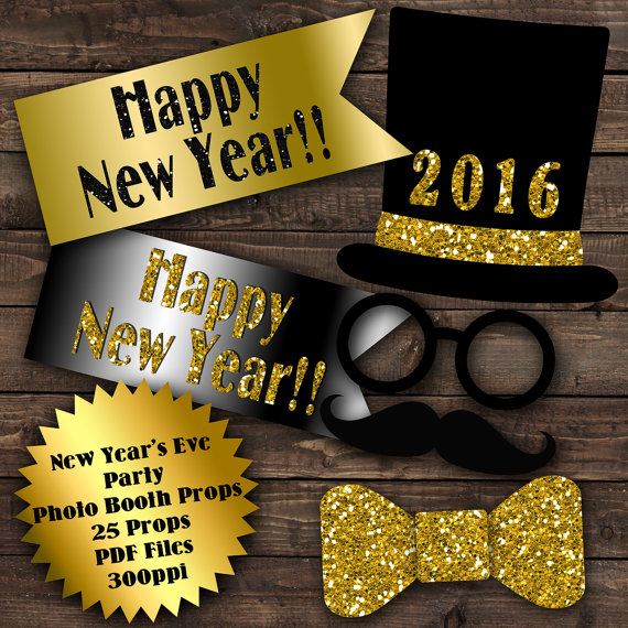 2016 New Years Eve Photo Booth Props Glitter N Spice