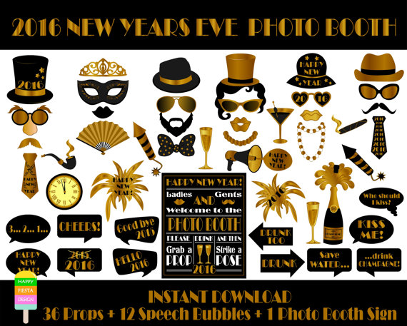 2016 New Years Eve Photo Booth Props available via HappyFiestaDesign