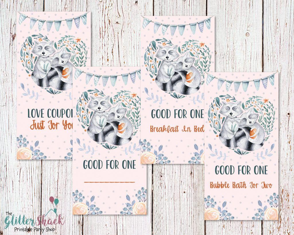Cute Romantic Love Coupons, Floral Woodland Raccoon Couple