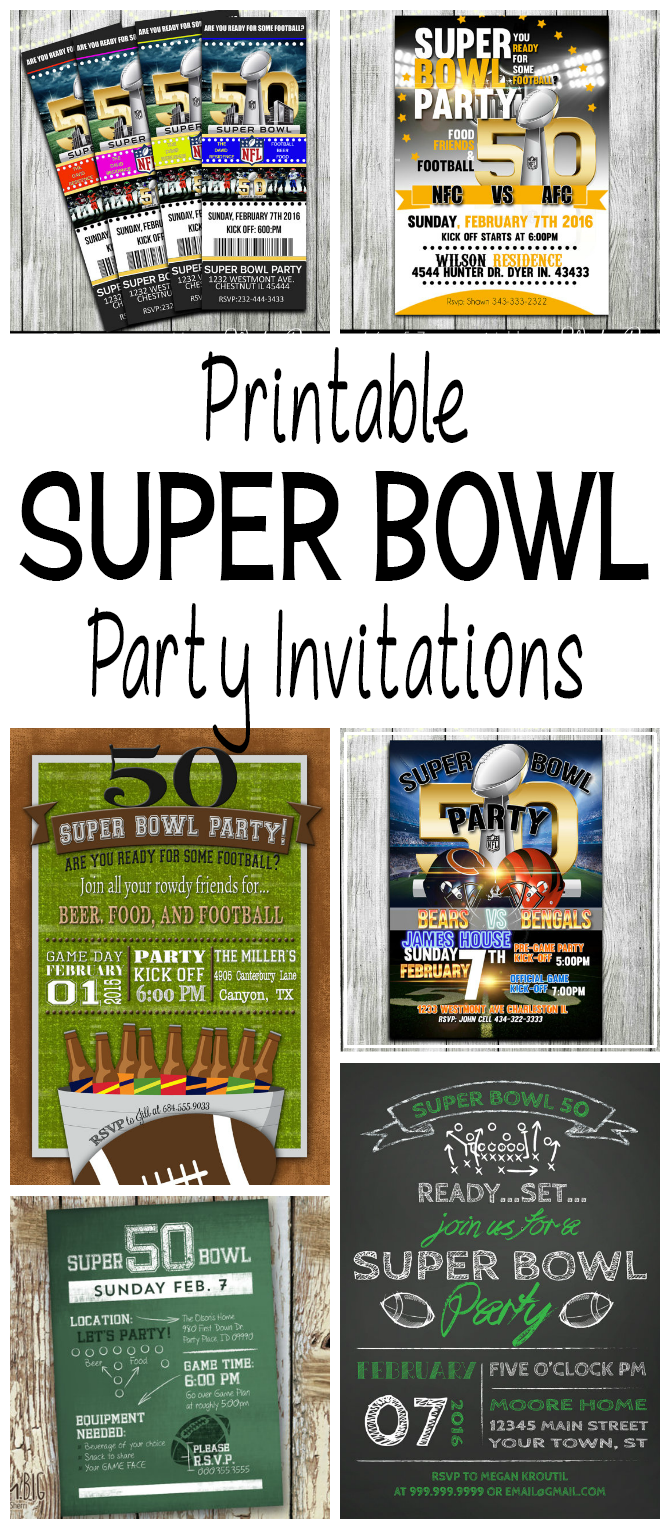 super bowl 50 printable football party invitations glitter 39 n 39 spice. Black Bedroom Furniture Sets. Home Design Ideas
