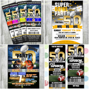 Super Bowl 50 Printable Football Party Invitations