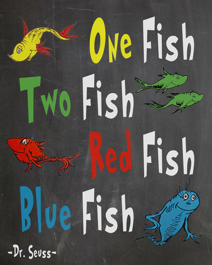 Free dr seuss printables for decorating a classroom or for One fish two fish printable