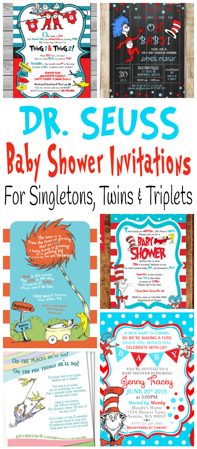 Cute And Adorable Printable Dr. Seuss Baby Shower Invitations For  Celebrating The Birth Of One