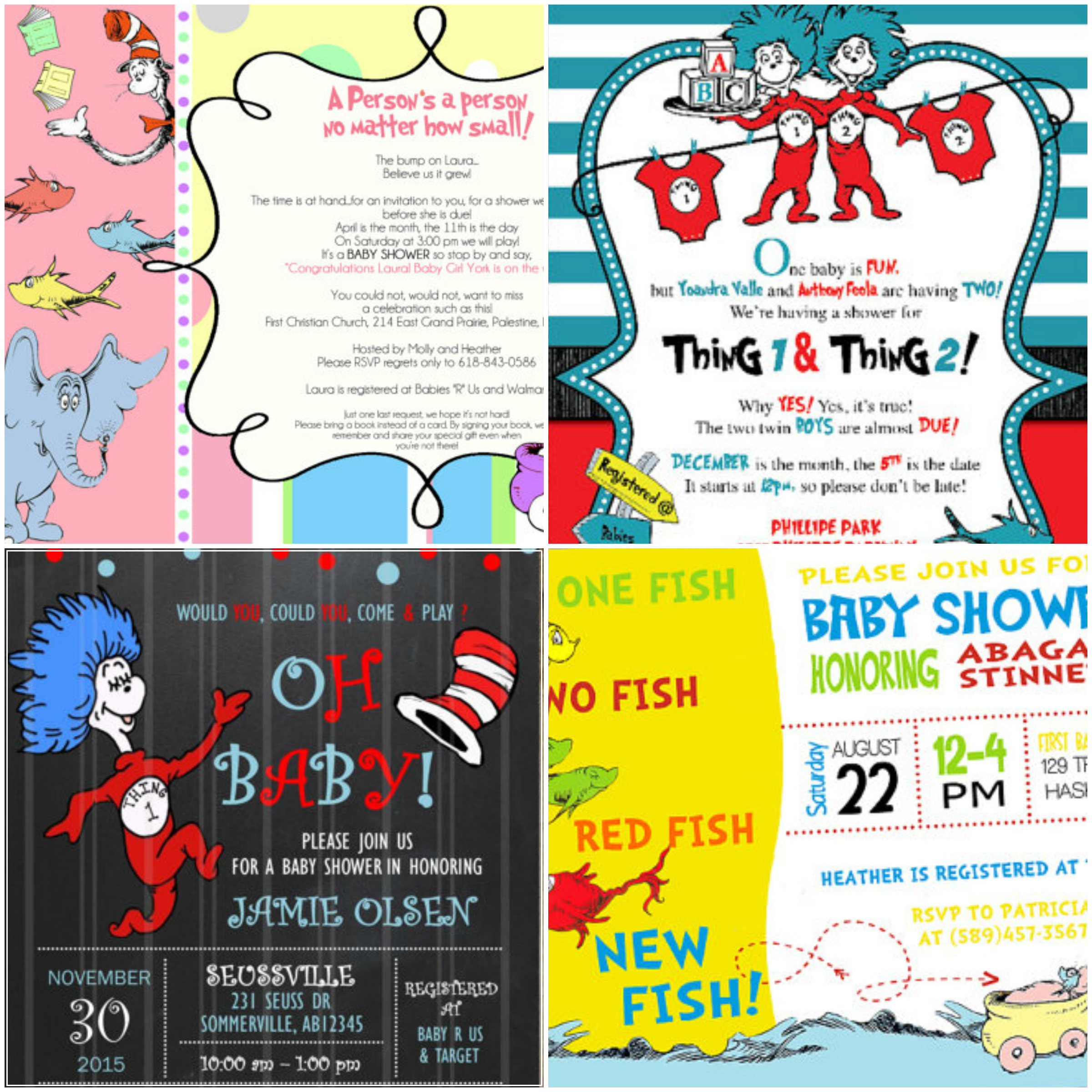 Printable Dr. Seuss Baby Shower Invitations For One Baby, Twins Or Triplets