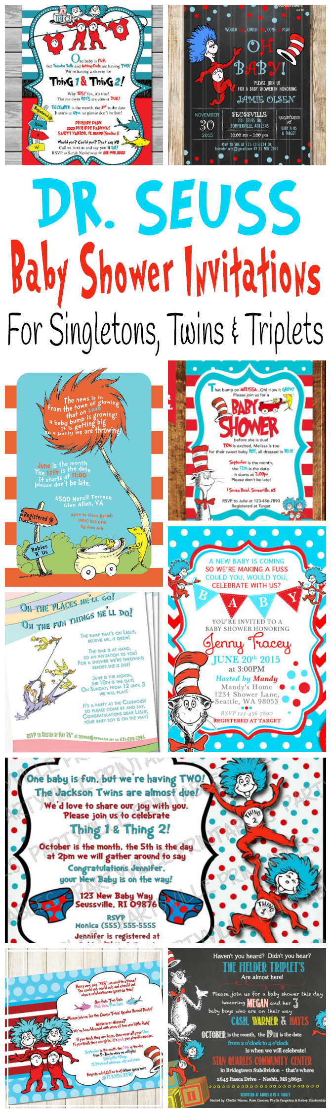 Cute and adorable printable Dr. Seuss baby shower invitations for celebrating the birth of one baby, twins and triplets.