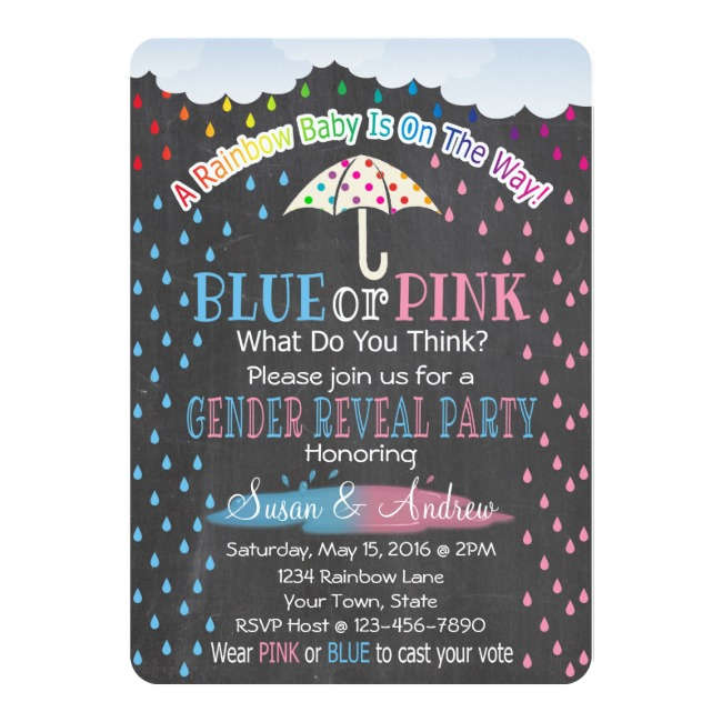 Rainbow Raindrops Gender Reveal Invitation