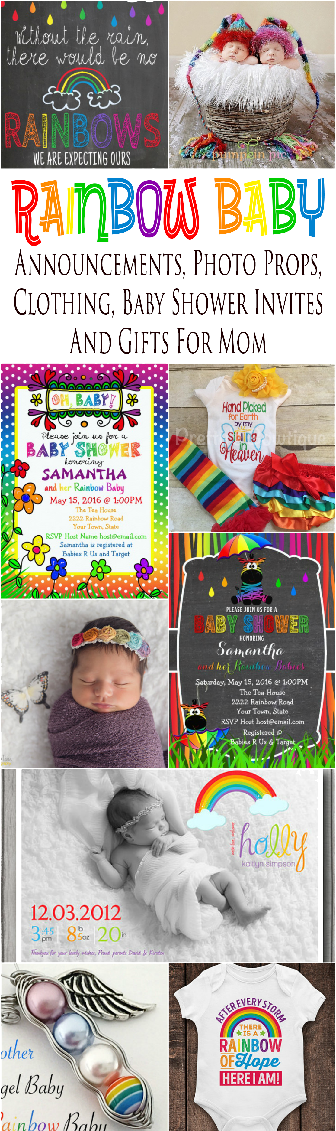 Rainbow baby announcement cards, pregnancy announcement signs, maternity and baby photo props, baby shower invitations, gift ideas for mom and infant clothing especially for celebrating a pregnancy after a loss.