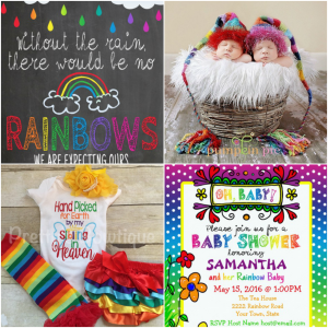Rainbow baby announcement cards, maternity shirts, pregnancy announcement signs, maternity and baby photo props, baby shower invitations, gift ideas for mom and infant clothing designed especially for celebrating a pregnancy after a loss.