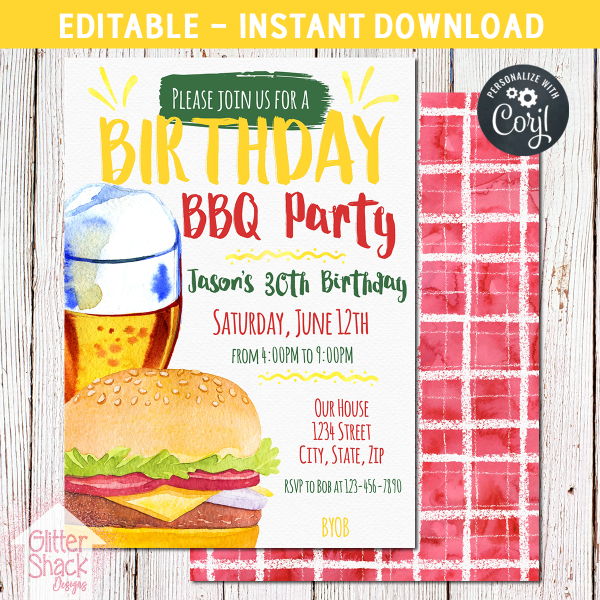 Printable BBQ Adult Birthday Invitation